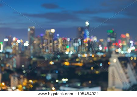 City night blurred bokeh light office building abstract background