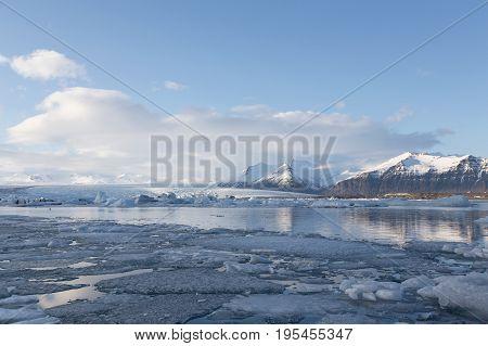 Beautiful winter season Jakusarlon lagoon Iceland nautral landscape background