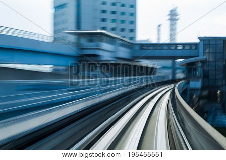 Night blur motion train moving to station abstract background