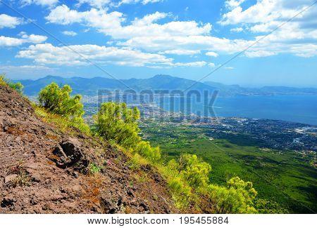 The view from the Vesuvius vulcano towards the city of Pompeii. Campania region, Italy.