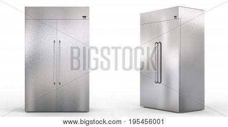 3d rendering fridge with side by side doors on white background