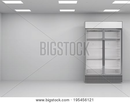 3d rendering stainless steel commercial fridge in empty room