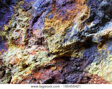 Metallic ore in underground mine near Bodenmais in Bavaria, Germany.