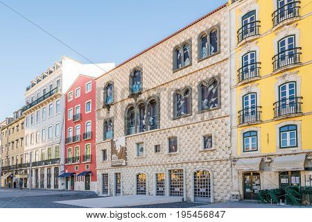 LISBON,PORTUGAL - MAY 19,2017 - View at the House dos Bicos in the streets of Lisbon. Lisbon is the capital of Portugal.