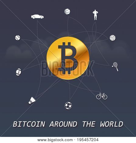 Bitcoin around the world - Virtual money transactions around the world infographic based on sports elements