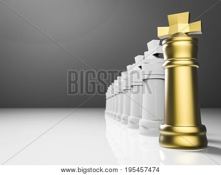 leadership concept with 3d rendering chess king