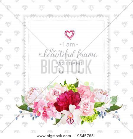 Square floral vector design frame. Orchid, rose, white and burgundy red peony, carnation, hydrangea flowers. Simple backdrop with small diamond shapes. All elements are isolated and editable.
