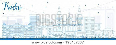 Outline Kochi Skyline with Blue Buildings. Business Travel and Tourism Concept with Historic Architecture. Image for Presentation Banner Placard and Web Site.