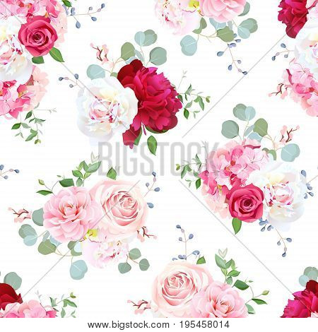 Small wedding bouquets of pink rose, white and burgundy red peony, camellia, hydrangea, blue berries and eucalyptus leaves pattern. Seamless vector print on white background