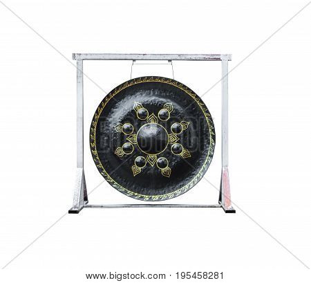 Closeup To Black Gong On White Background, Isolated