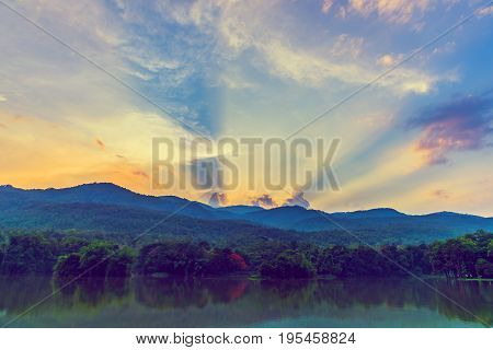 Image Of Lake And The Mountain.