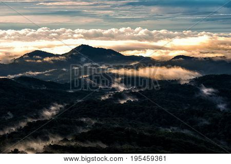 Light morning with fog floating on the mountain and sky is a beautiful view. And is a popular tourist destination of the photographer to capture nature. The Doi Inthanon Chiang Mai Thailand.