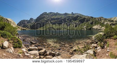 Lac De Melo Above Restonica Valley In Corsica