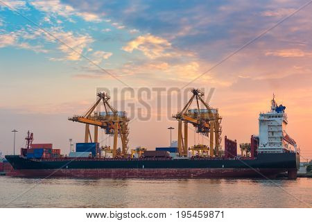 Cargo ship unloading container at morning scene.