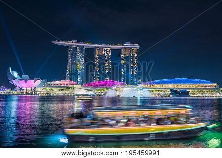 SINGAPORE - October 23 2016 : Light show in Marina Bay Sand. Singapore Marina Bay cityscape.