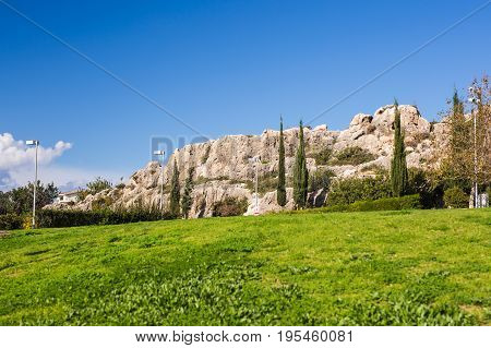 Green field with blue sky with cypress trees. Cyprus landscape in summer. Summer green meadow with cypress trees