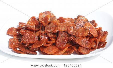 Pork Sausage slide fried cooking ready to eat zoom in isolate on white background.