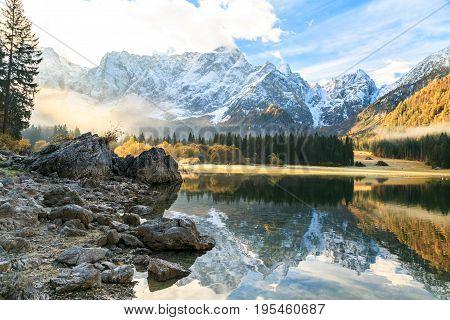 Autumn Sunrise At The Alpine Lake