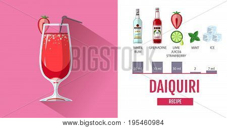 Flat style cocktail menu design. Cocktail daiquiri recipe