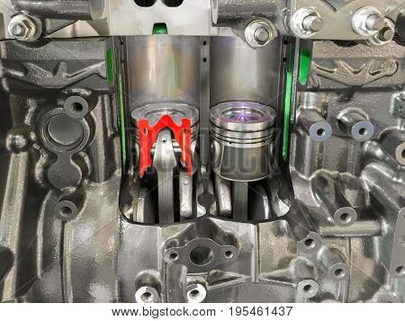 Diesel Engine piston cross section , , display inside materials .