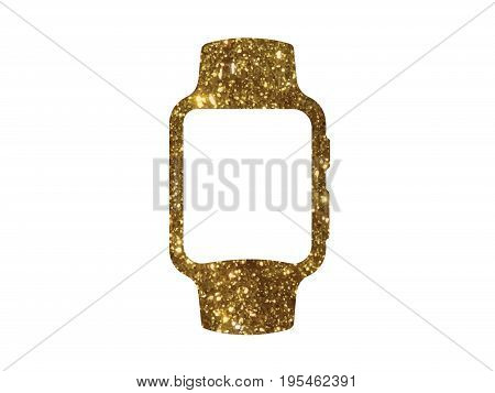 The vector golden glitter gold color flat smart watch icon on white background
