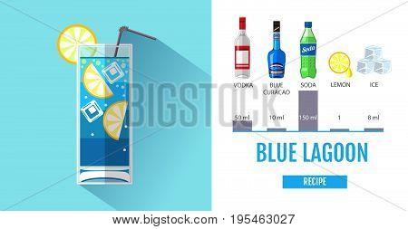 Flat style cocktail menu design. Cocktail blue lagoon recipe