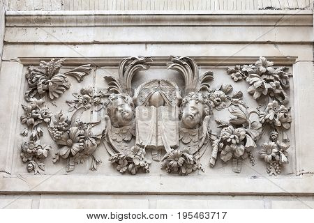 18th century St Paul Cathedral relief on facade London United Kingdom. It is an Anglican monumental cathedral the seat of the Bishop of London