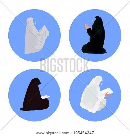 Female muslim praying and reading quran vector