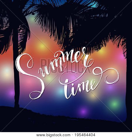 Tropical background, ocean landscape,sunset. Vacation, relax. Vector illustration EPS10.