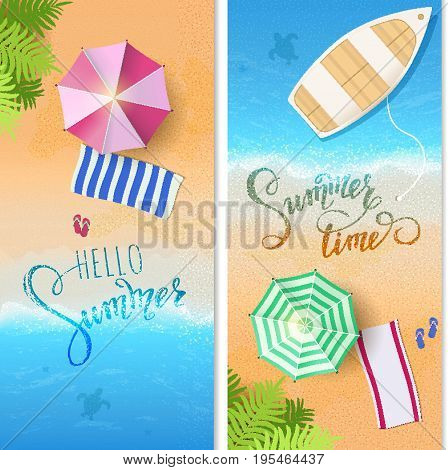 Summertime, tropical background, blue ocean landscape. Vacation, relax. Vector illustration EPS10.