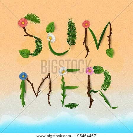 Summer lettering. Tropical palm leaves and flowers background. Vector illustration EPS10.