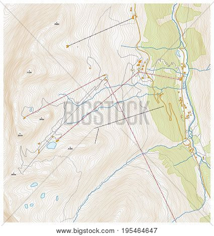 Imaginary topographic map of a winter sports area