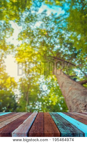 Wood Table And Blur Image Of Tree Bokeh.