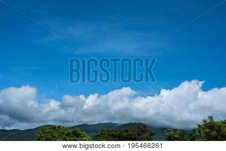 Blue Sky And Mountain In Background.