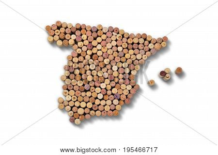 Wine-producing countries - maps from wine corks. Map of Spain on white background.