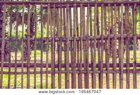 Vintage Tone Of Bamboo Fence Day Time.