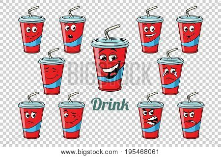 drink Cola tube emotions characters collection set. Isolated neutral background. Retro comic book style cartoon pop art vector illustration