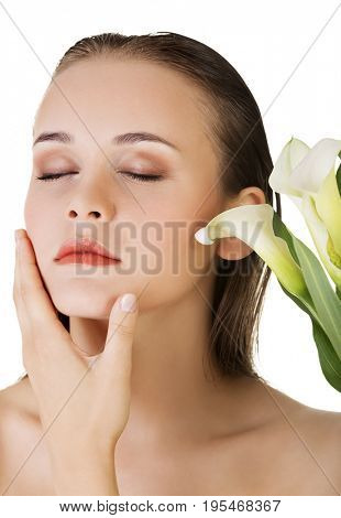 Beauty woman portrait. Beautiful model girl with perfect fresh clean skin. Bodyn care concept.