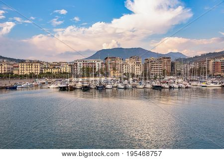 View of Salerno marina ai sunset Campania Italy