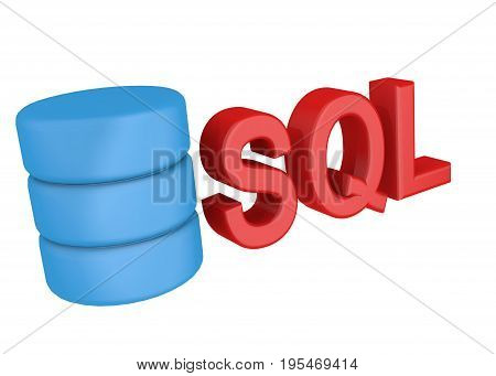 Sql Structured Query Language Database Search Data Logo. Icon On White Background
