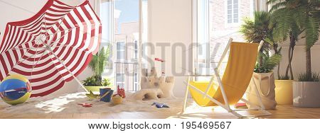 3d rendering. vacations at home with sandcastle and sunchair.