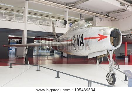 Le Bourget Paris France- May 042017: Republic F-84F Thunderstreak (1950) in the Museum of Astronautics and Aviation Le Bourget Le Bourget Paris France- May 042017: Dassault Mirage 2000-01 (1978) in the Museum of Astronautics and Aviation Le Bourget