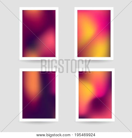 Fluid colors background, blurred background, set posters with white frame, purple pink orange yellow color, gradient, banner. vector illustration.