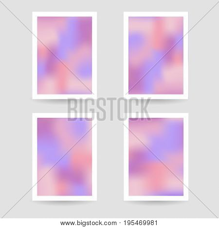 Fluid colors background, blurred background, set posters with white frame, pink purple colors, gradient, banner. vector illustration.