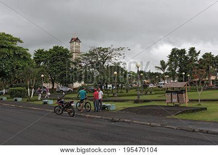 LA FORTUNA, COSTA RICA - MARCH 06, 2017: Church and park central in la fortuna, costa rica