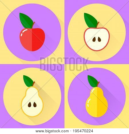 vector illustration. set flat round icon. red apple, half apple, yellow pear, half pear