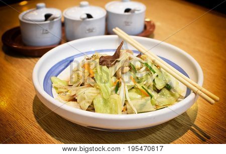 Japanese remen noodle on wood table .