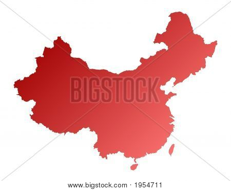 detailed red gradient map of China. Lambert projection. poster