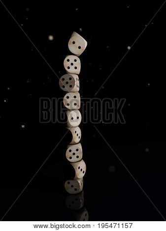 Stack of wooden dice on a black background. 3D rendering
