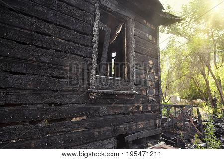 Burnt home destroyed by a house fire